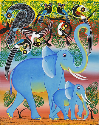 Elephant family / Bird