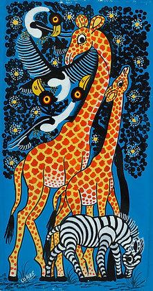 Giraffe couple/Zebra/Bird
