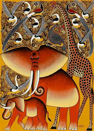 Elephant family/Giraffe/Bird