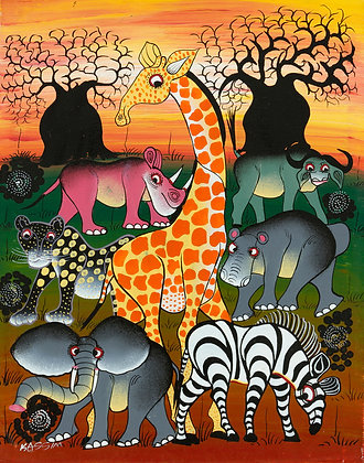 Animals/Baobab/Sunset