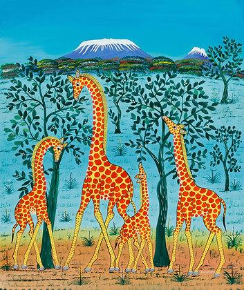 Giraffe family/Kilimanjaro/Blue sky
