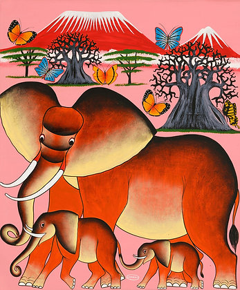 Elephant family/Butterfly/Baobab/Kilimanjaro