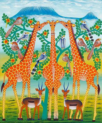 Giraffe/Impala/Bird/Kilimanjaro