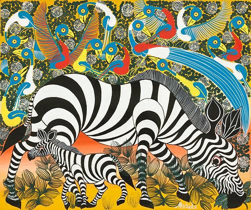 Zebra family/Bird