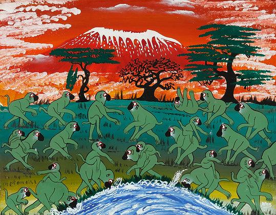 Paddling of an monkey/Kilimanjaro