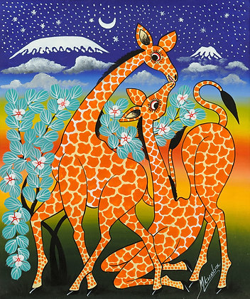 Giraffe couple/Kilimanjaro/Starry sky