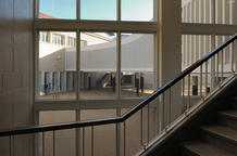 View of the patio from the restored main staircase of the school. (photo: Laura Castro Caldas and Paulo Cintra)