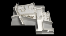 The project redesigns the block, establishing a new continuity for the existing streets and adding a third square to the urban system of the two existing squares organized by the Church of Santiago. Design study model.