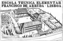 General perspective of the original project showing the main entrance which was intended to face the planned street that was never executed. Postcard (1956).