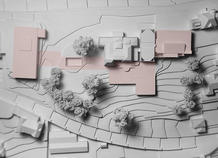 The exhibition pavilion, dominating the old tennis courts, the sunk courtyard, belvedere and the curtain that unifies both the buildings beside villa Pury. Competition model.