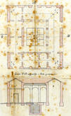 The original slaughterhouse and the courtyard for the animals' blood ventilation and drainage. Plan (1878).