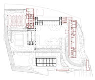 The new atrium is connected to the playfields through the covered playground. Level patio plan with the new additions drawn in red.
