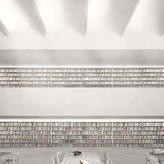Two open galleries serve as circulation and displaying of books, while rationalizing the technical infrastructure.