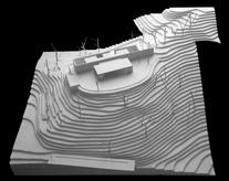 The site is a small plateau at the end of a heavily creased ridge line, which visually dominates the landscape of Melides Mountain, in Alentejo. Design study model.
