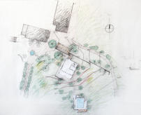 The existing main house, chapel and warehouse; the grid wall, the house for guests and the pool. (design study sketch: José Neves)
