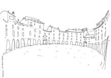 Piazza dell'Anfiteatro, Lucca. Travel sketch. (José Neves, 2000)