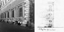 Palazzo Farnese in Rome, Antonio da Sangallo the Younger, Michelangelo,  Vignola, Giacomo della Porta et al. (16th century). (photo and sketch: José Neves)