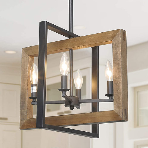 Dining Room Lighting Fixtures Hanging, Farmhouse Chandelier in Distressed Wood