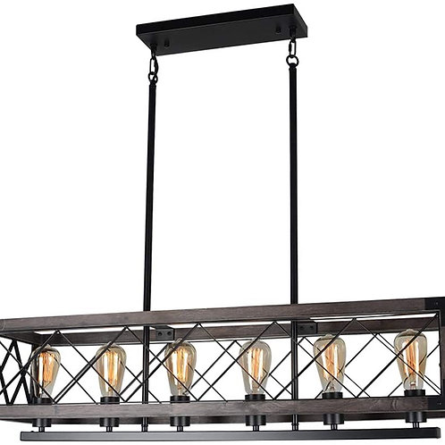 Square Hanging Rustic Kitchen Island Light Fixture, 1-Light Small Wood Farmhous