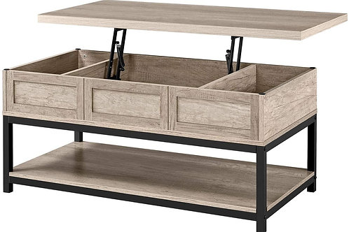 Lift Top Coffee Table with Hidden Compartment and Open Storage Shelf - Occasion