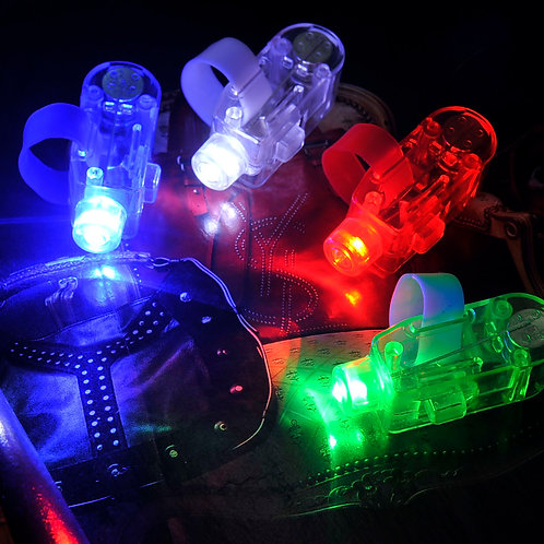 100 Pcs Laser LED Finger Flashlights (Blue/Red/Green/White)