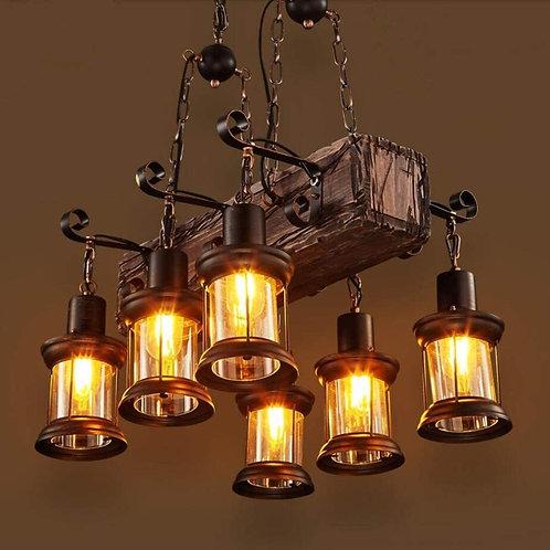 Farmhouse Lighting Industrial Rustic Wood Beam Linear Island Pendant Light Chan