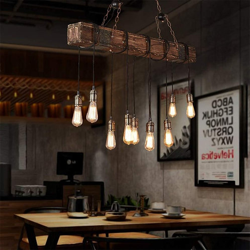 10-Lights Chandelier Wooden Retro Rustic Pendant Light - Industrial Suspension