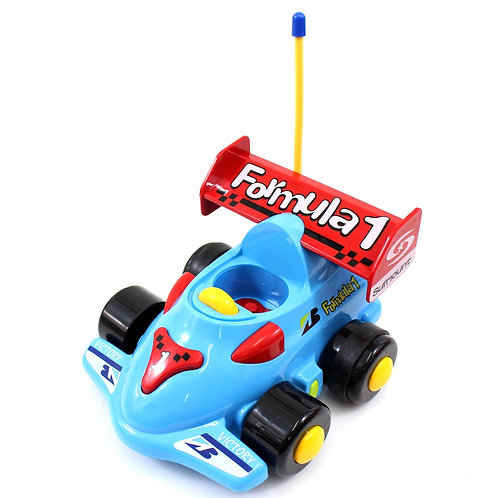 "4"" Cartoon RC Formula Race Car Remote Control Toy for Toddlers (Blue)"