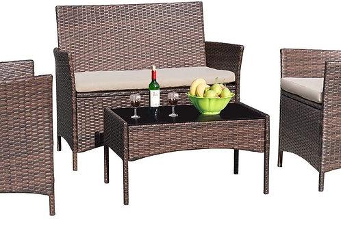 4 Pieces Patio Porch Furniture Sets PE Rattan Wicker Chairs Beige Cushio