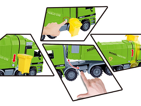 """14"""" Friction Powered Recycling Garbage Truck"""