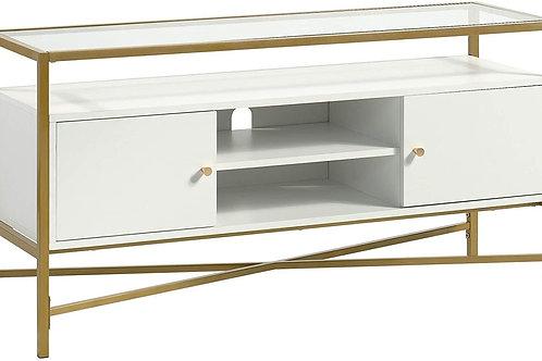 "Harper Heights Contemporary Glass-Top TV Credenza, L: 48.82"" x W: 15.55"" x H:"