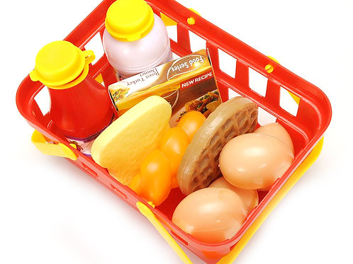 Pretend Breakfast & Lunch Play Food Set with Basket for Kids - 10 Piece Set
