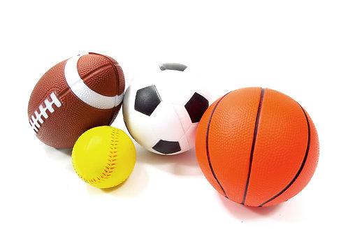 Set Of 4 Sports Balls For Kids (Soccer Ball, Basketball, Football, Baseball)
