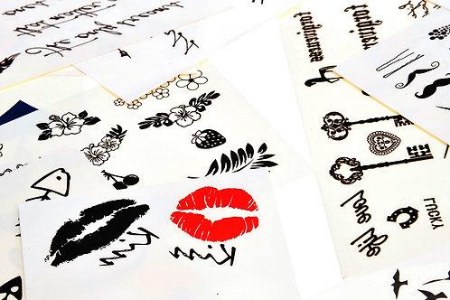 30 Sheet Temporary Tattoos Neck and Wrist Men Women Kids