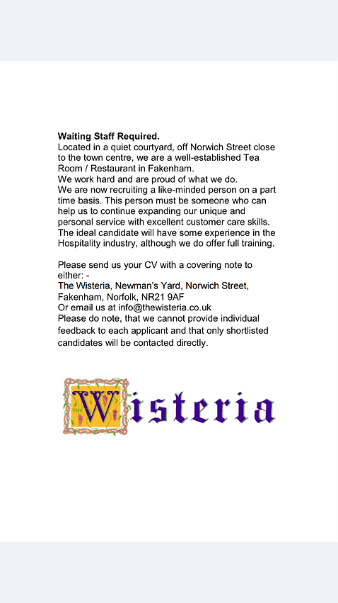 Current Vacancy at The Wisteia Fakenham