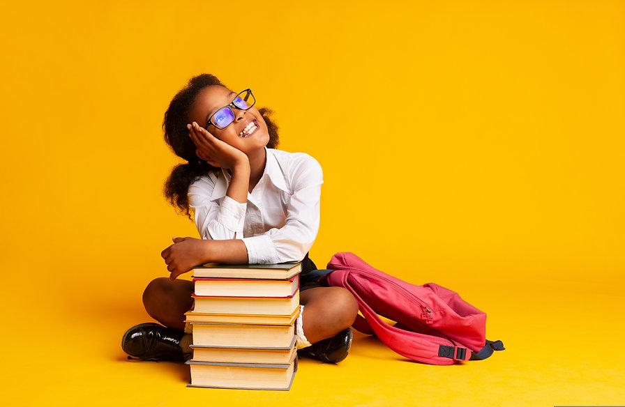 Cheerful African American Schoolgirl Dre