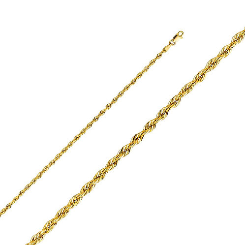 14k Yellow Gold 2.5-mm Hollow Rope Chain Necklace