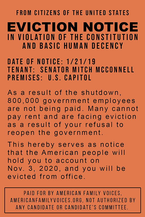 Eviction Notice Postcard to Mitch McConnell