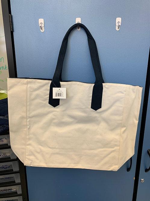 Natural/Navy Tote Bag