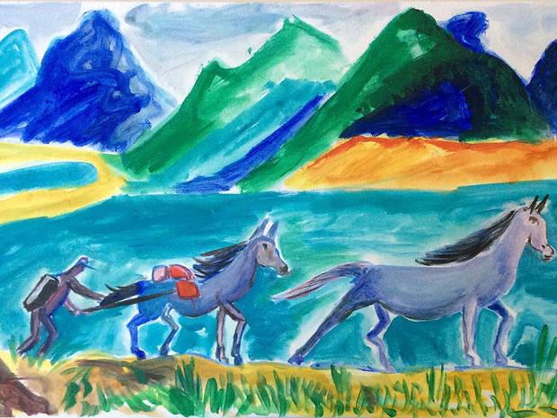 Packpferde in Tibet