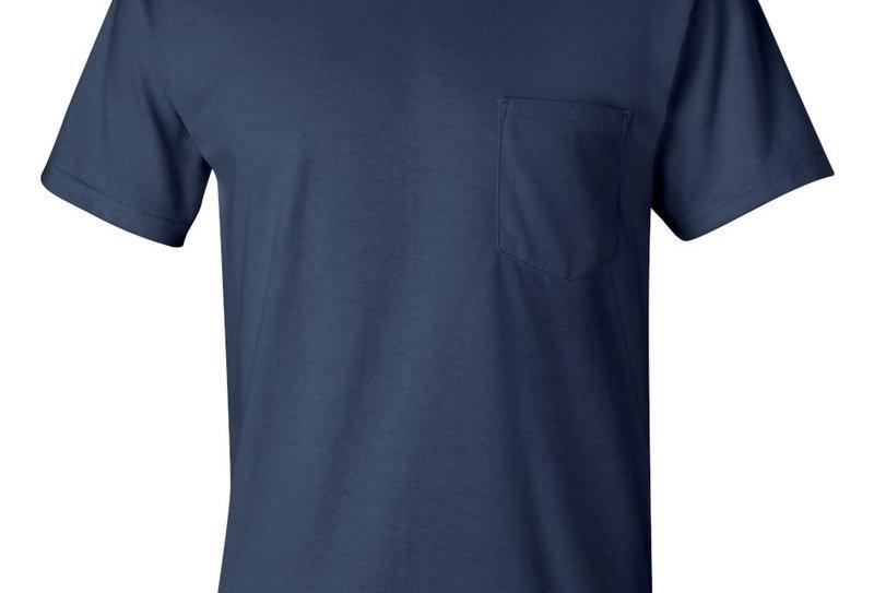 t-shirt 2300 Gildan avec poche bleu