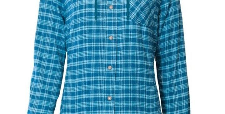 chemise en flanelle doublée à capuchon PF460 bleu
