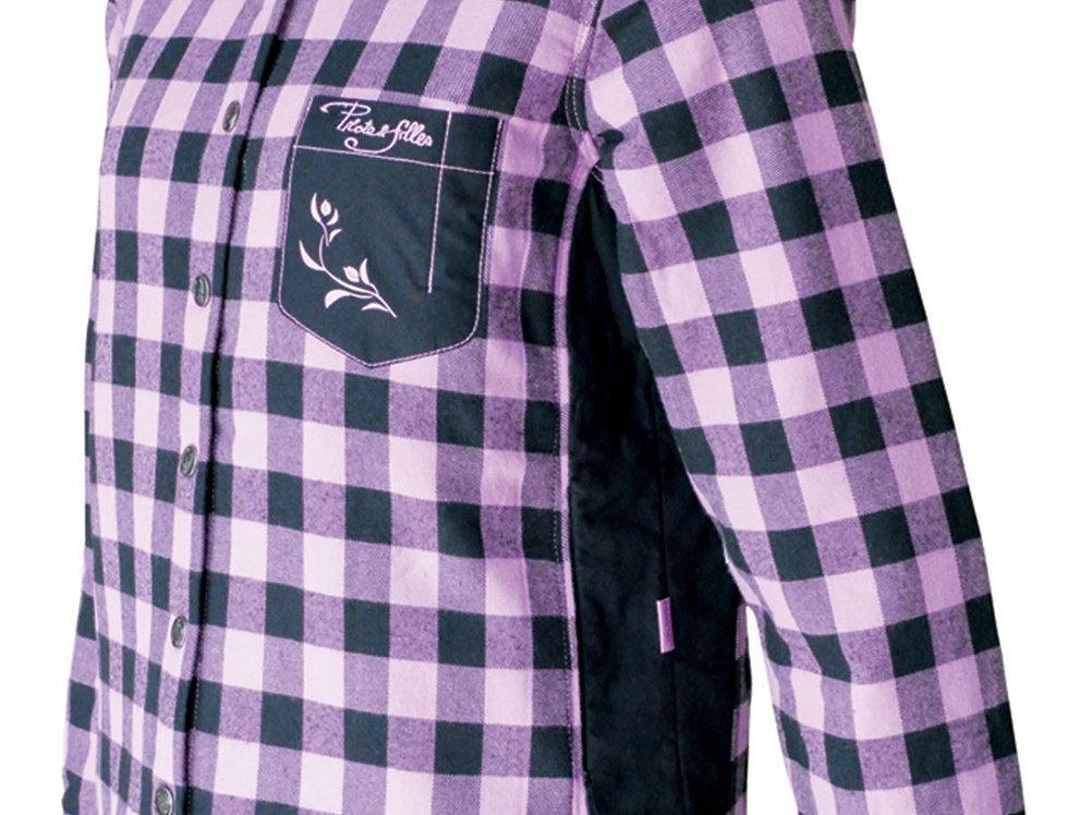 chemise à carreaux rembourée PF410 rose
