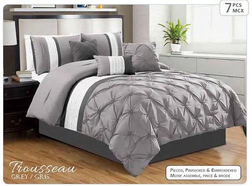 Ens. d'édredon et couvre-oreillers imprimé Trousseau gris - Queen | 60895.7Q.75