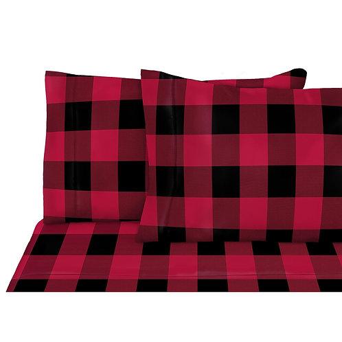 Ens. de draps en flanelle Queen Buffalo Rouge | SAFD 34311.4Q.01