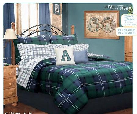 Ens. d'édredon et couvre-oreillers imprimés Shetland - Lit simple |  60654.2T.01