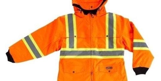 manteau hiver doublé orange avec bandes réfléchissantes 10/4 JOB