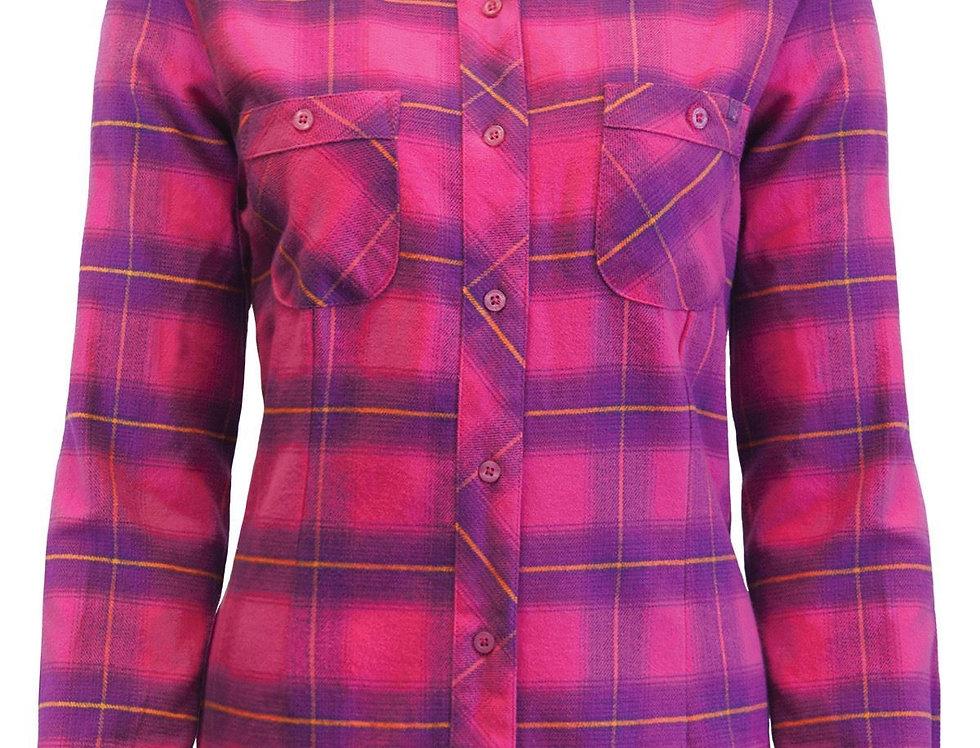chemise en flanelle à carreaux PF470 rose-mauve