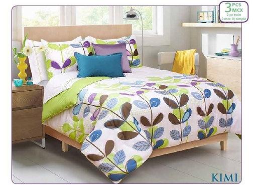 Ens. d'édredon et couvre-oreillers imprimés Kimi - Lit simple |  60625.2T.19