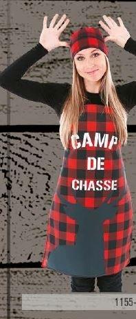 Tablier Camp de chasse sur carreaux rouge et noir   1155-4803